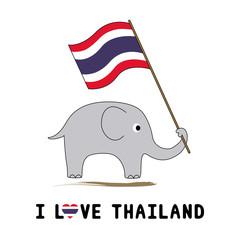 Elephant hold Thai flag5