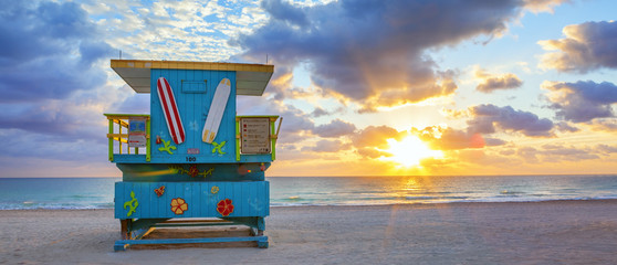 Panoramic view of famous Miami South Beach sunrise