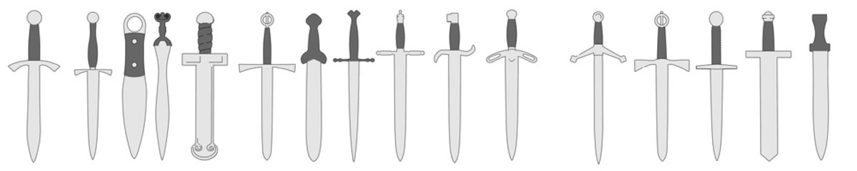 cartoon image of old swords