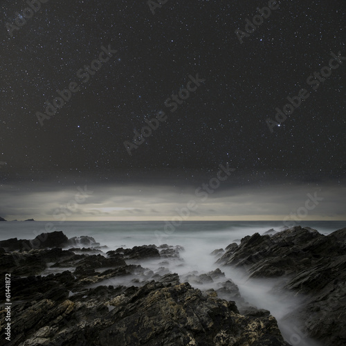 Rugged coast under the night sky.
