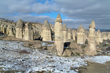 Stone columns in Gorcelid Valley in Cappadocia, Turkey