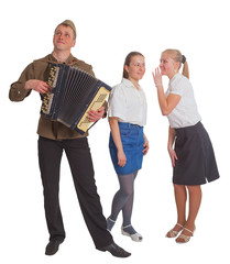 Two girls and a guy with an accordion