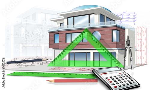 Hausplanung mit Bauzeichnung Taschenrechener, Linieal