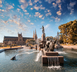 Wide angle view of famous Archibald Fountain in Sydney