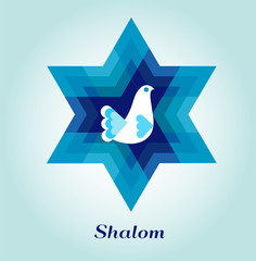template card with jewish symbols and peace dove