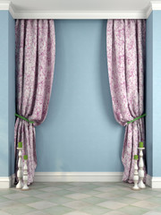Beautiful pink curtains and candlesticks against a blue wall