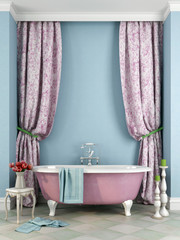 Beautiful pink bath against a blue background
