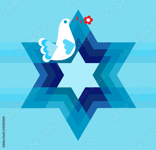 peace pigeon with david star on blue - 61442664