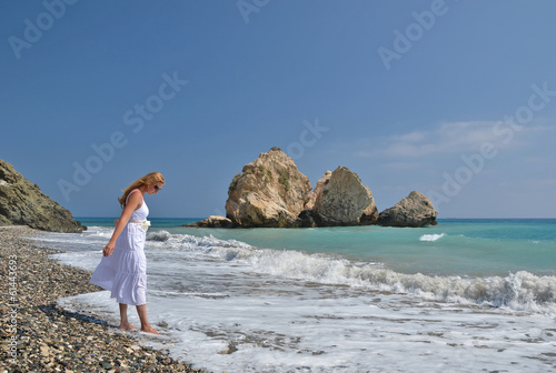 Girl at the beach near Aphrodite's birth place