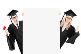 Man in gown holding diploma and girl giving thumb up