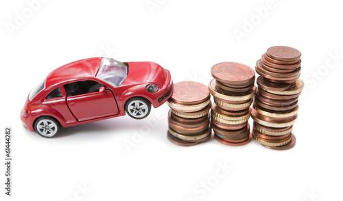 voiture neuve et pièces d'euro
