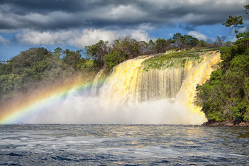 Waterfall and rainbow - beauty of nature