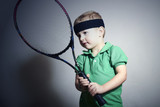 Little Boy Playing Tennis.Sport Children.Child with Racket