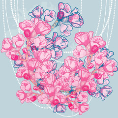 vector delicate spring flower on background