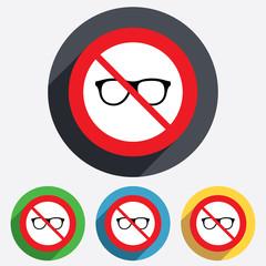 No glasses. Retro glasses sign icon.