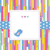 blue bird and hearts on colorful abstract pattern greeting card