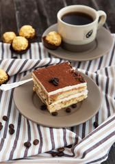 Portion of delicious tiramisu cake