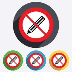 Pencil sign icon. Do not Edit content button.