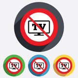 No Widescreen TV sign icon. Television set.