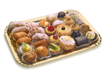 pastries on golden tray