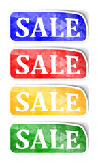 """Labels with reflections and the words """"sale"""" - illustration"""