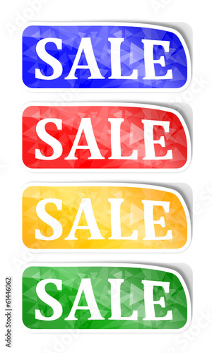 "Labels with reflections and the words ""sale"" - illustration"