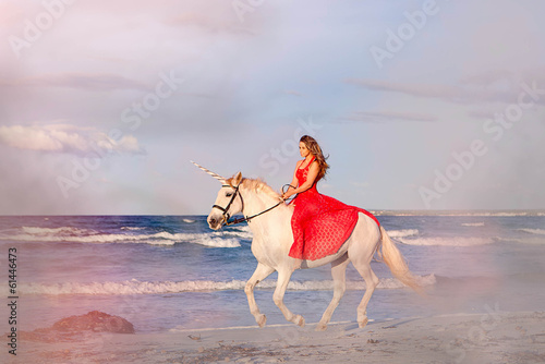 fantasy fiction woman on unicorn