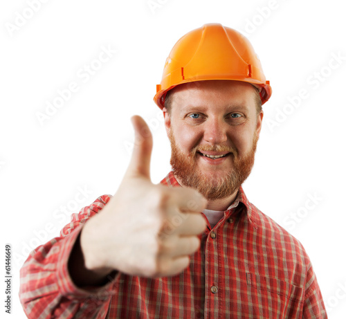 Man in a protective construction helmet