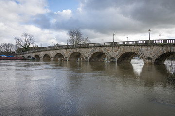 Maidenhead Bridge UK, with River Thames in flood