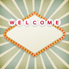 Retro background with promotional message. Welcome to...
