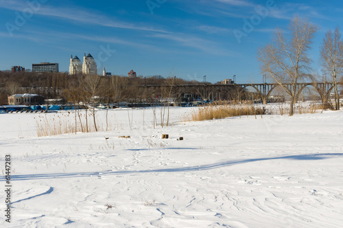 Winter landscape with Dnepr river in Dnepropetrovsk city