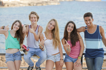 group of confident teens