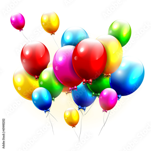 Flying balloons on white backgruond
