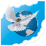 vector blue background with dove and globe