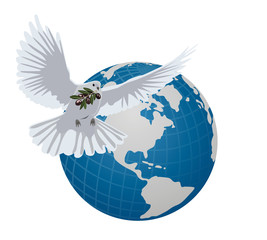 vector dove with an olive branch on the background of the globe