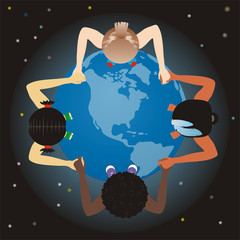 vector world children, globe and space