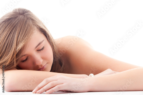 Teenager with closed eyes