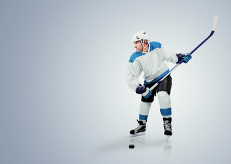 Ice hockey player ready to attack