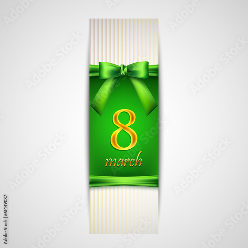 8 march. Women's Day greeting card with golden number eight