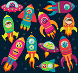 Vector Collection of Retro Style Rocketships with Aliens