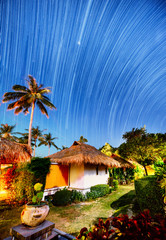 Night landscape with visible star trails