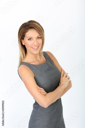 Successful businesswoman on white background