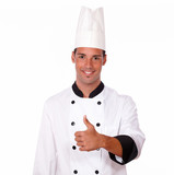 Happy male chef with positive thumb