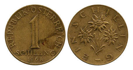one shilling, Republic Austria, 1968