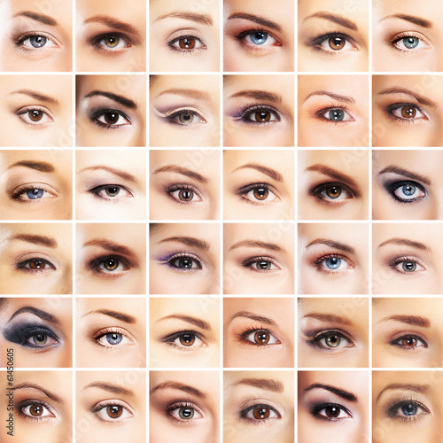 A collection of many female eyes with different makeup