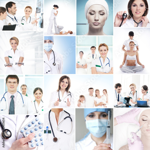 A collection of medical images with hospital workers and nurses