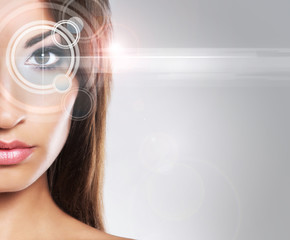 A woman from the future with a laser hologram on her eyes