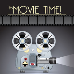 Vector Retro movie poster with Vintage Movie Projector