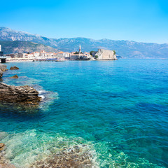 View of Budva Old Town with Clear Blue Water