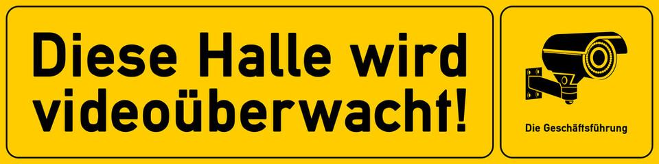 Halle - Hinweisschild Videoueberwachung - g526 - vu19